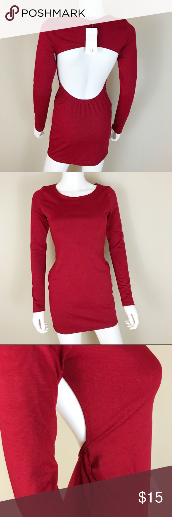 Tobi s red nwt backless fitted long sleeve dress nwt pinterest