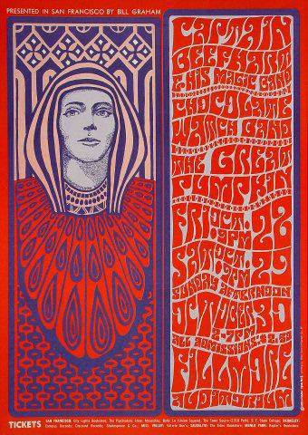 This poster for a show headlined by Captain Beefheart (misspelled on the poster), reflects Wilson's fondness for the Viennese Secessionists. Also note the amazing southbay punk / garage band Chocolate Watchband on the bill.