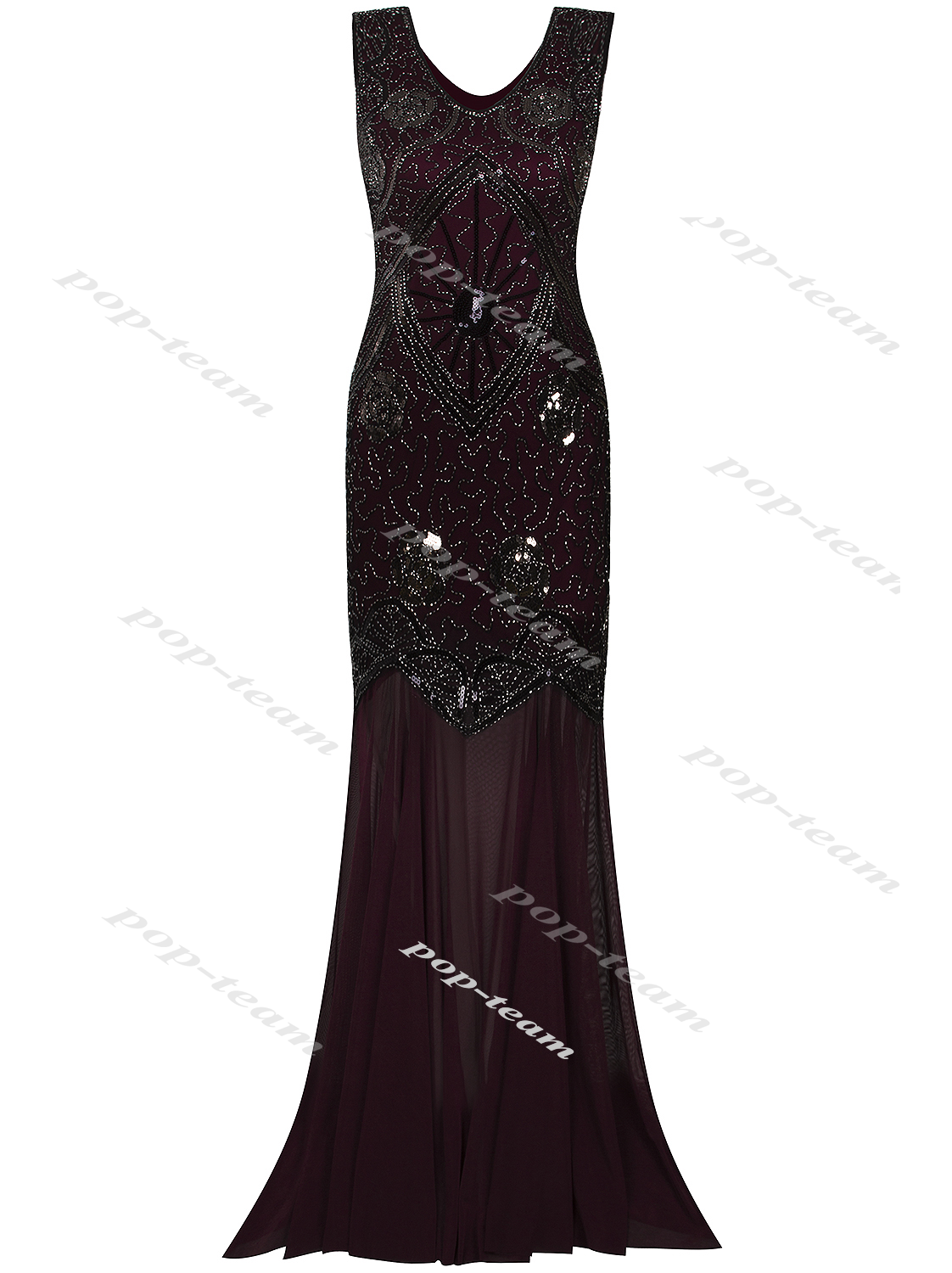 Cocktail Wedding Long Evening Prom Dress Ball Gown 1920s Flapper ...