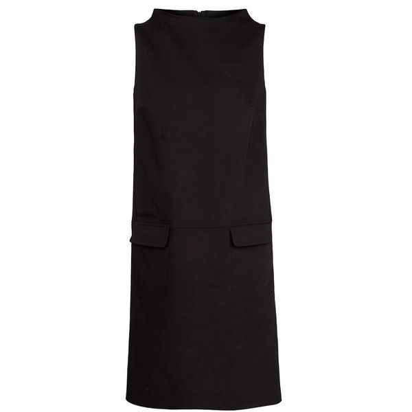MANGO Funnel neck shift dress featuring polyvore, fashion, clothing, dresses, black, no sleeve dress, kohl dresses, black dress, mango dresses and black sleeveless dress