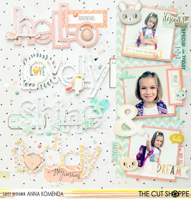 """The Cut Shoppe: Layout by Guest Designer Anna Komenda uses """"Say the Word"""" cut file."""