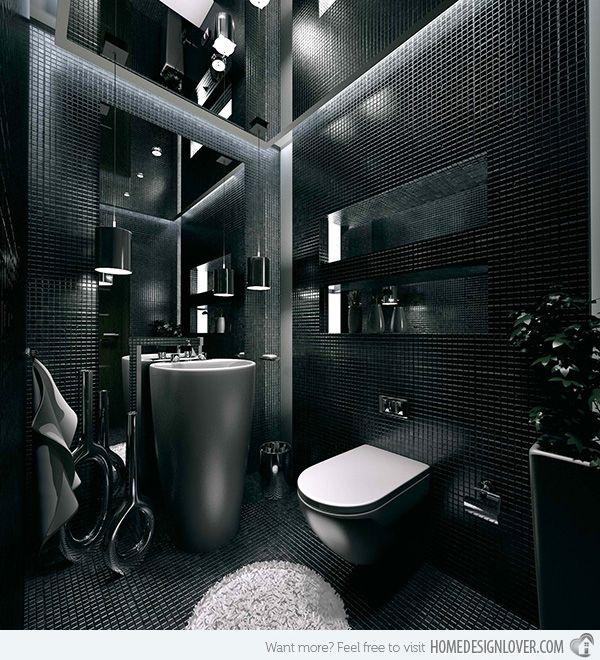 20 Sleek Ideas For Modern Black And White Bathrooms Home Design Lover Bathroom Design Small Modern Bathroom Design Grey Modern Bathroom Design