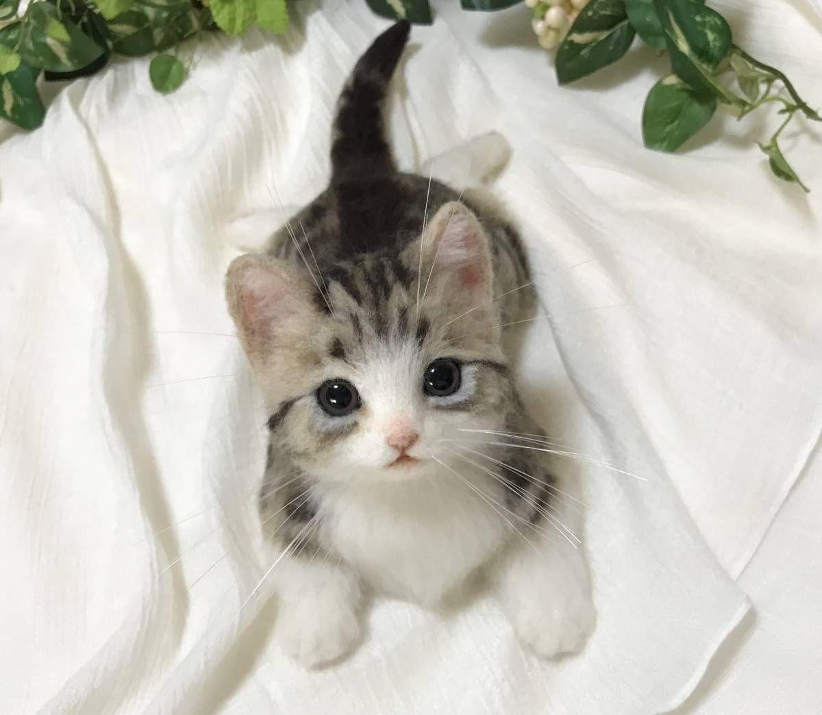 meiya ハンドメイド 羊毛フェルト マンチカンのかわいい子猫☆彡