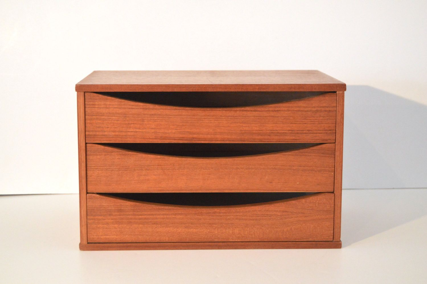 Danish Modern Teak Jewelry Box Mid Century Modern Jewelry Box with