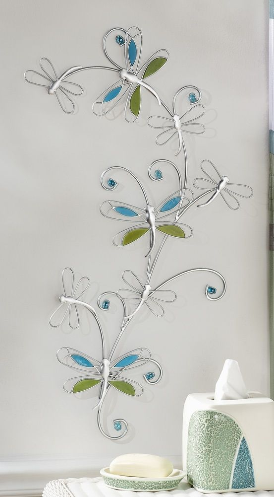 Bath Decor Silver Metal Dragonfly W/ Blue U0026 Green Glass Wall Art Decor