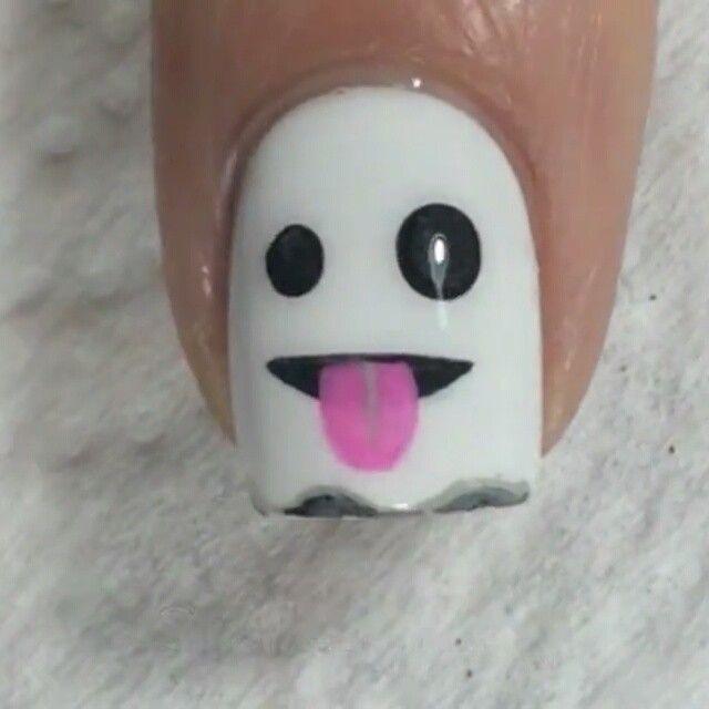 Ghost Emoji Halloween Nail Art Tutorial - @nailstorming on Instagram ...