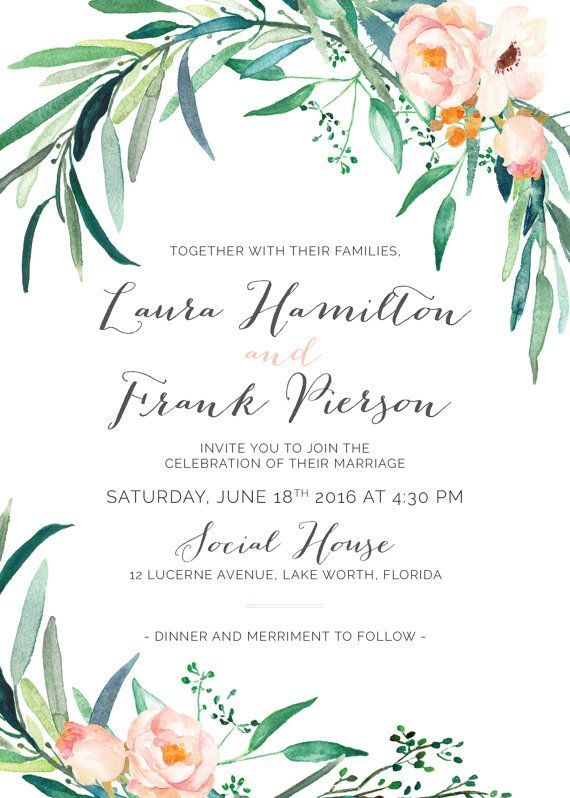 Printable wedding invitation set greenery wedding invitations printable wedding invitation set wedding by whitewillowpaperco junglespirit Image collections