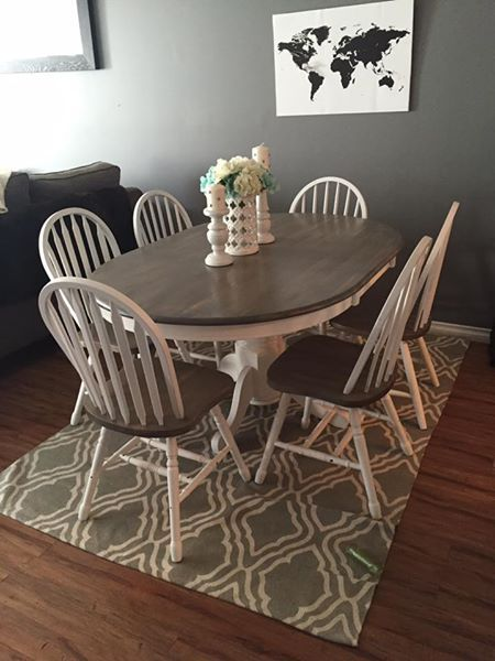 Rustic Solid Wood Kitchen Table And 6 Chairs White Base With