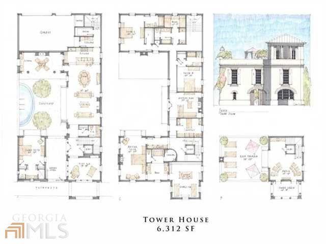 Tower House Courtyard Plan Mansion Floor Plan House Plans House Floor Plans
