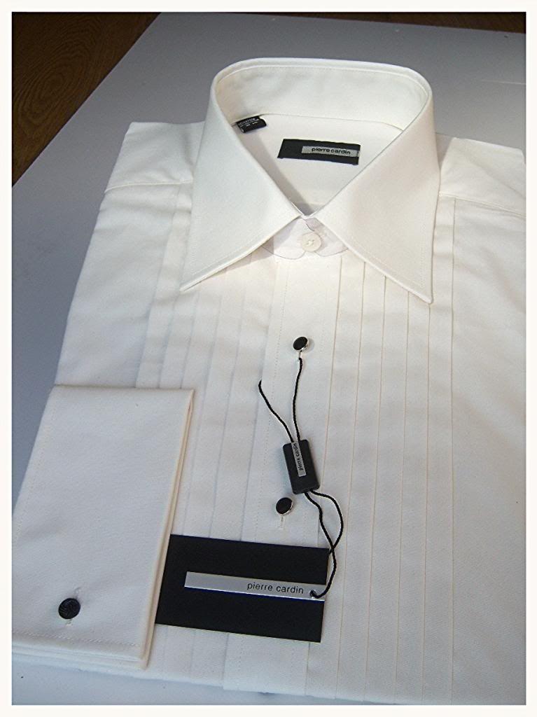 Mens new pierre cardin ivory wedding formal tuxedo dress for Tuxedo shirt black buttons