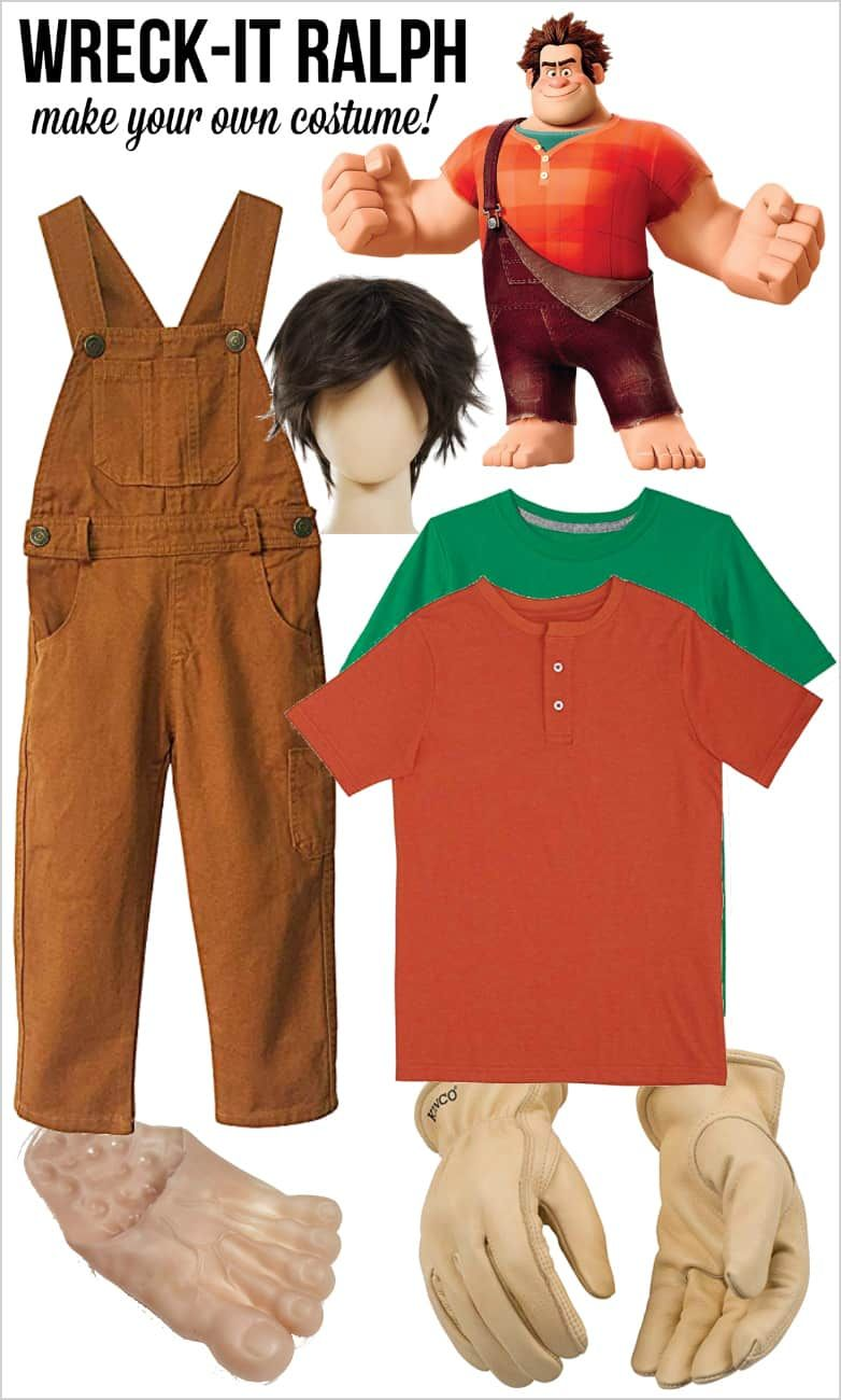 Wreck-It Ralph 2 Shirt+Vest+Overalls Party Adult Men Halloween Cosplay Costume