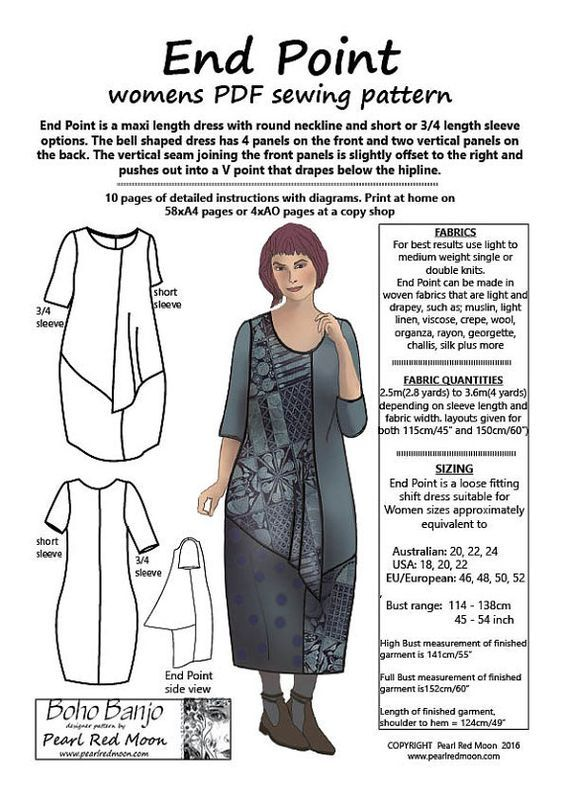 END POINT, multiple Large sizes, womens PDF sewing pattern ...
