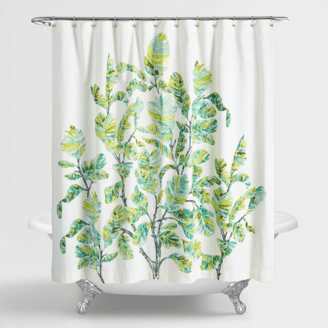 Green And Ivory Fiddle Leaf Fig Shower Curtain V1 Shower