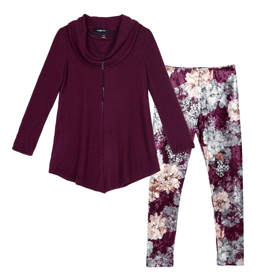 91879631467f0 Girls 7-16   Plus Size IZ Amy Byer Cowlneck Sweater Tunic   Leggings Set  with Necklace