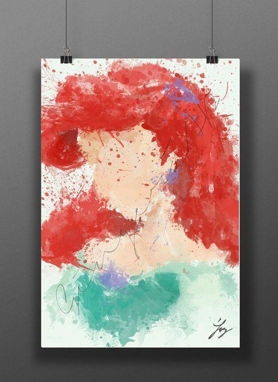 Impression D Art Ariel Princesse Affiche Aquarelle Numerique