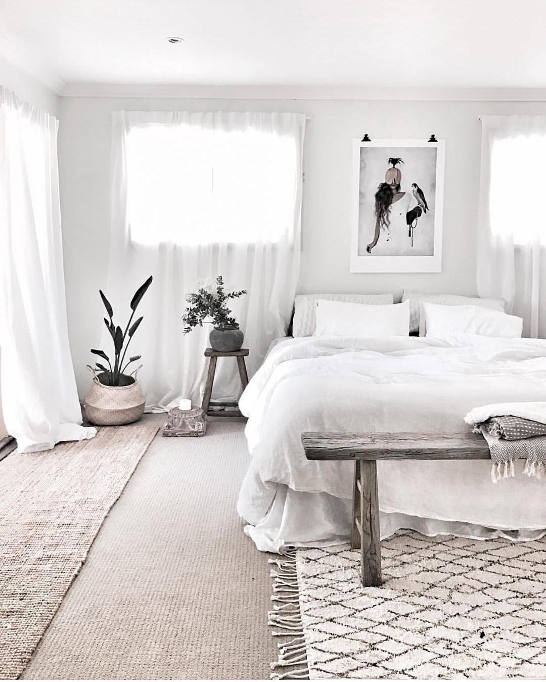Monochrome White Bedroom With Art Print Above Bed