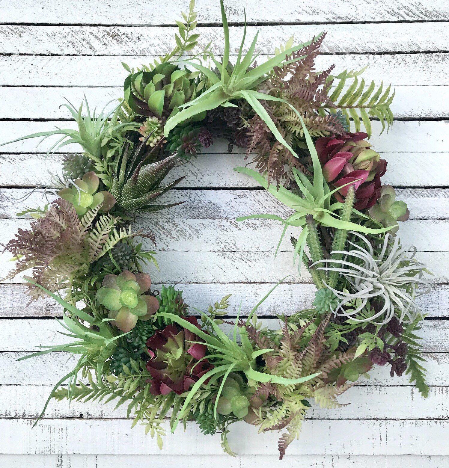 Photo of Succulent Wreath, Succulent Wreath For Front Door, Faux Succulent Wreath, Air Pa…