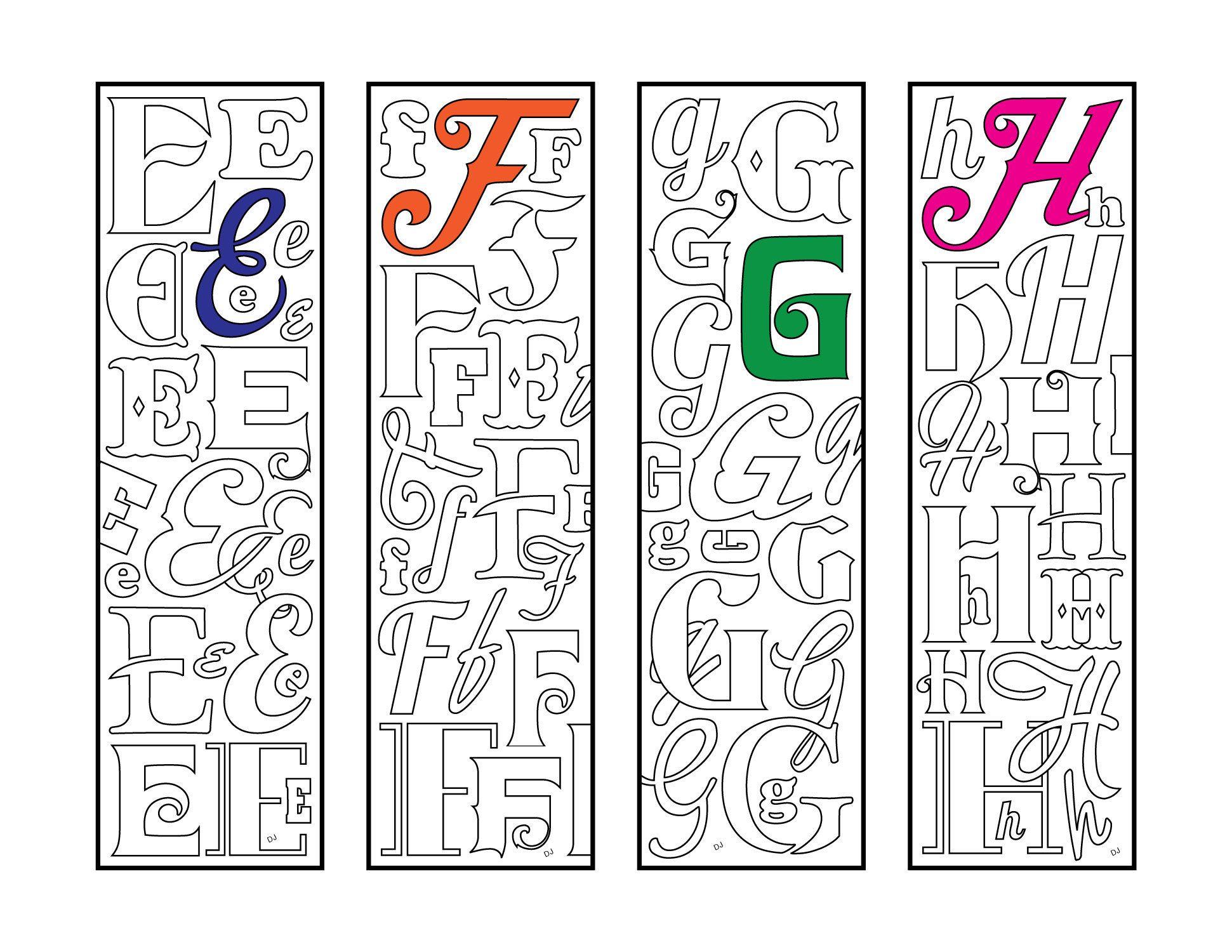 E F G H Monogram Alphabet Letter Bookmarks