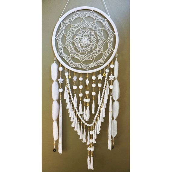 Large White and Gold Beads & Jewels Dreamcatcher door GoldenDreamers