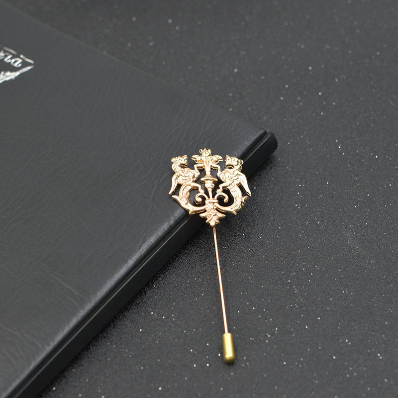 Bronze Gold Silver Tone Clic Hollow Double Lion Lapel Pins For Men Suit Accessories Stick Brooch