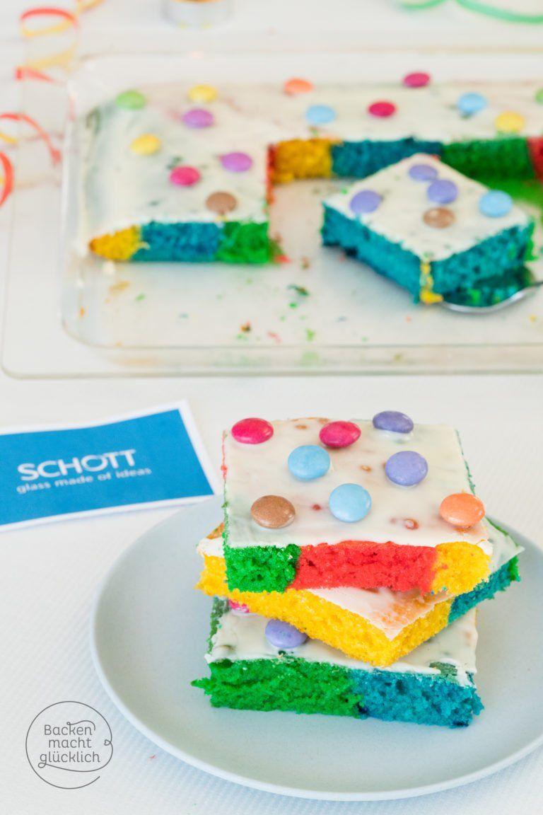 Regenbogenkuchen Vom Blech Rezept Backen Fur Kinder Pinterest