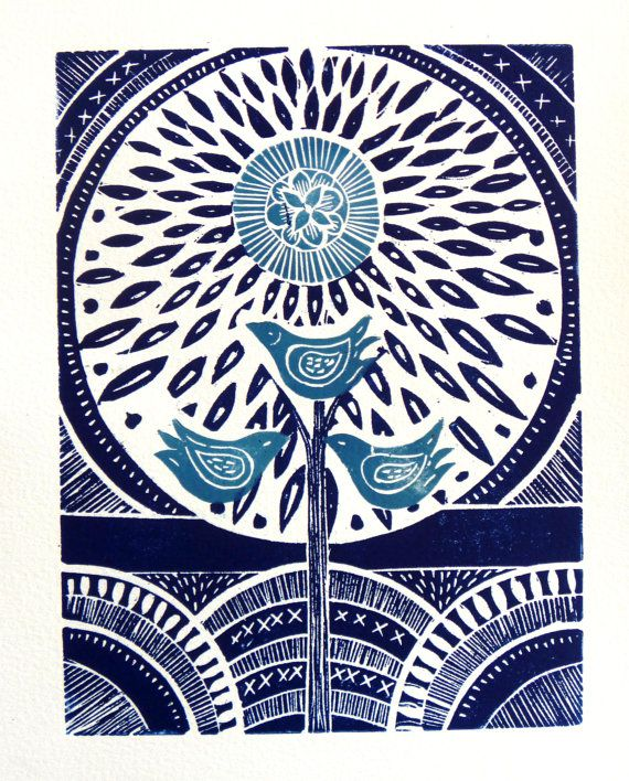 Three Birds Lino Print Reserved listing for Lisa by mangleprints