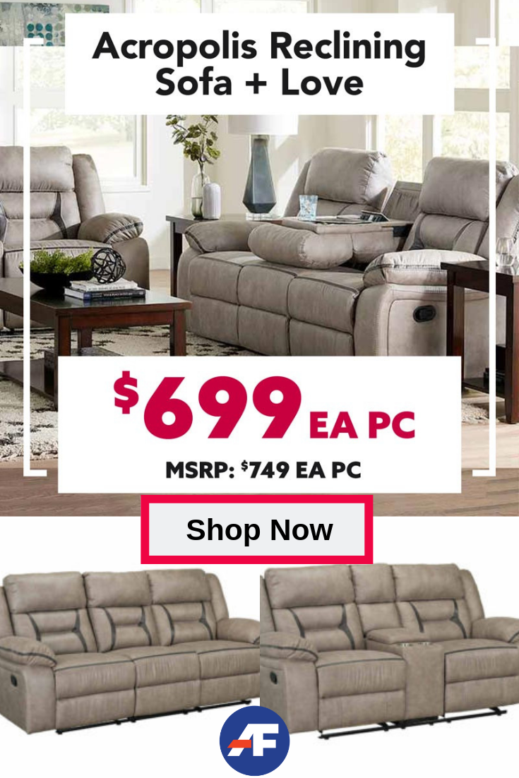 Be The King Or Queen Of The Hill When You Bring Home The Acropolis Reclining Living Room Set The Mattress Furniture Reclining Sofa American Freight Furniture