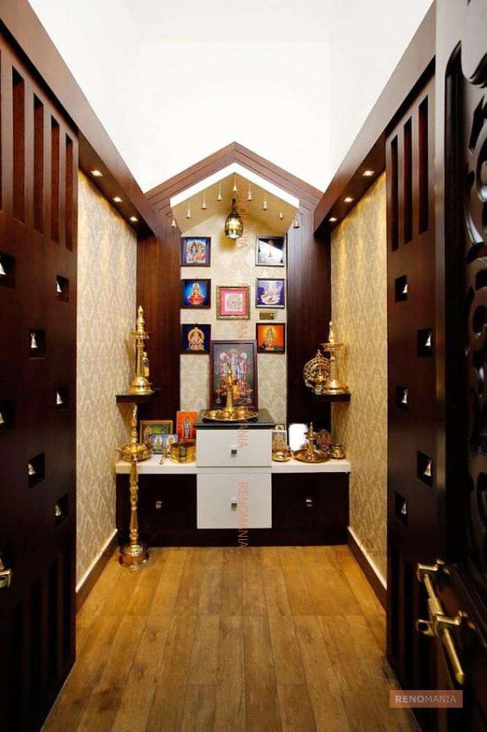 9 Traditional Pooja Room Door Designs In 2020: Wooden Flooring In Pujaroom