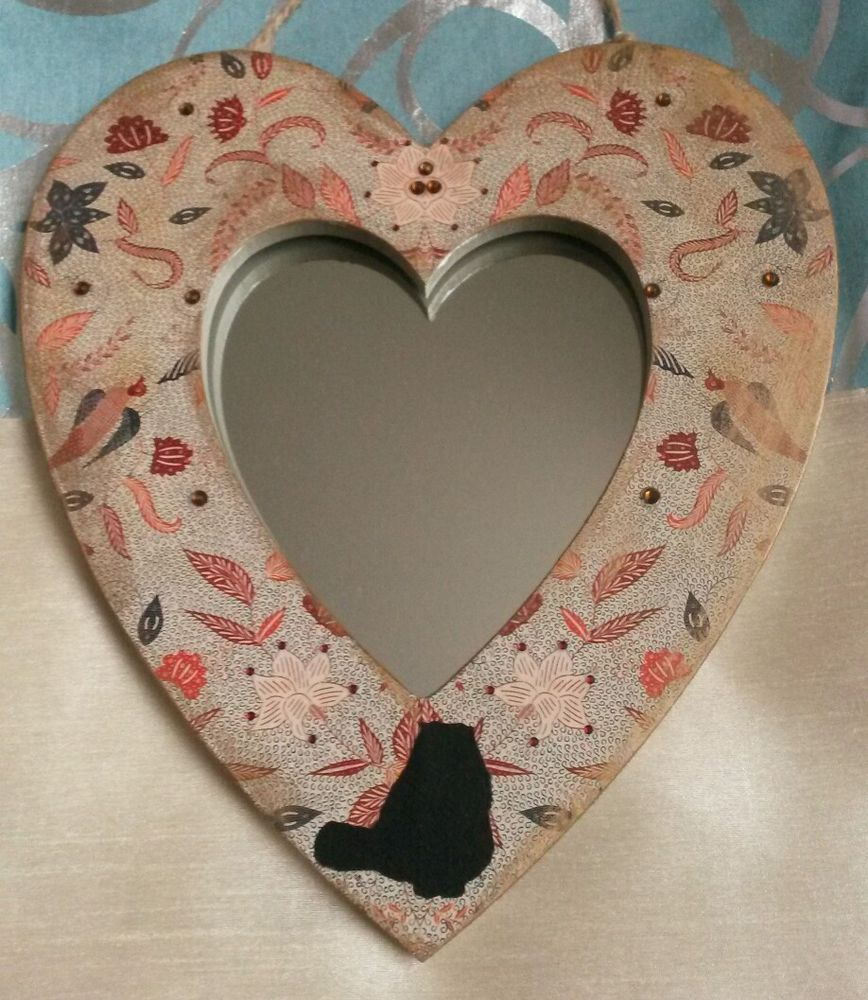Decorative heart mirror with cat in Home, Furniture & DIY, Home Decor, Mirrors | eBay