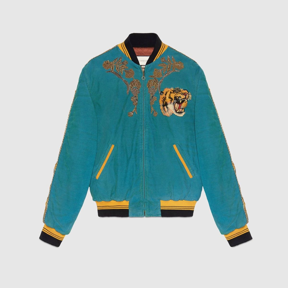 GUCCI Embroidered Corduroy Bomber Jacket - Blue Corduroy.  gucci  cloth  all 737e4b6fc5b