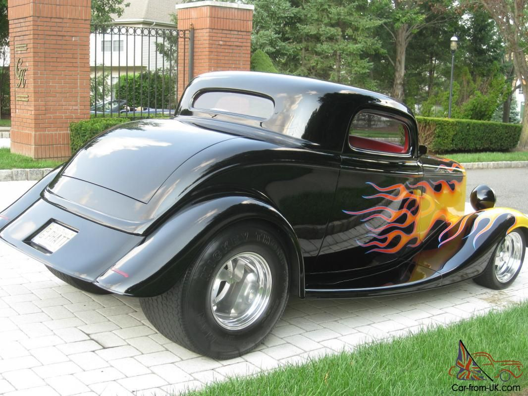 Street rod flames 1933 ford 3 window coupe street rod black with flames