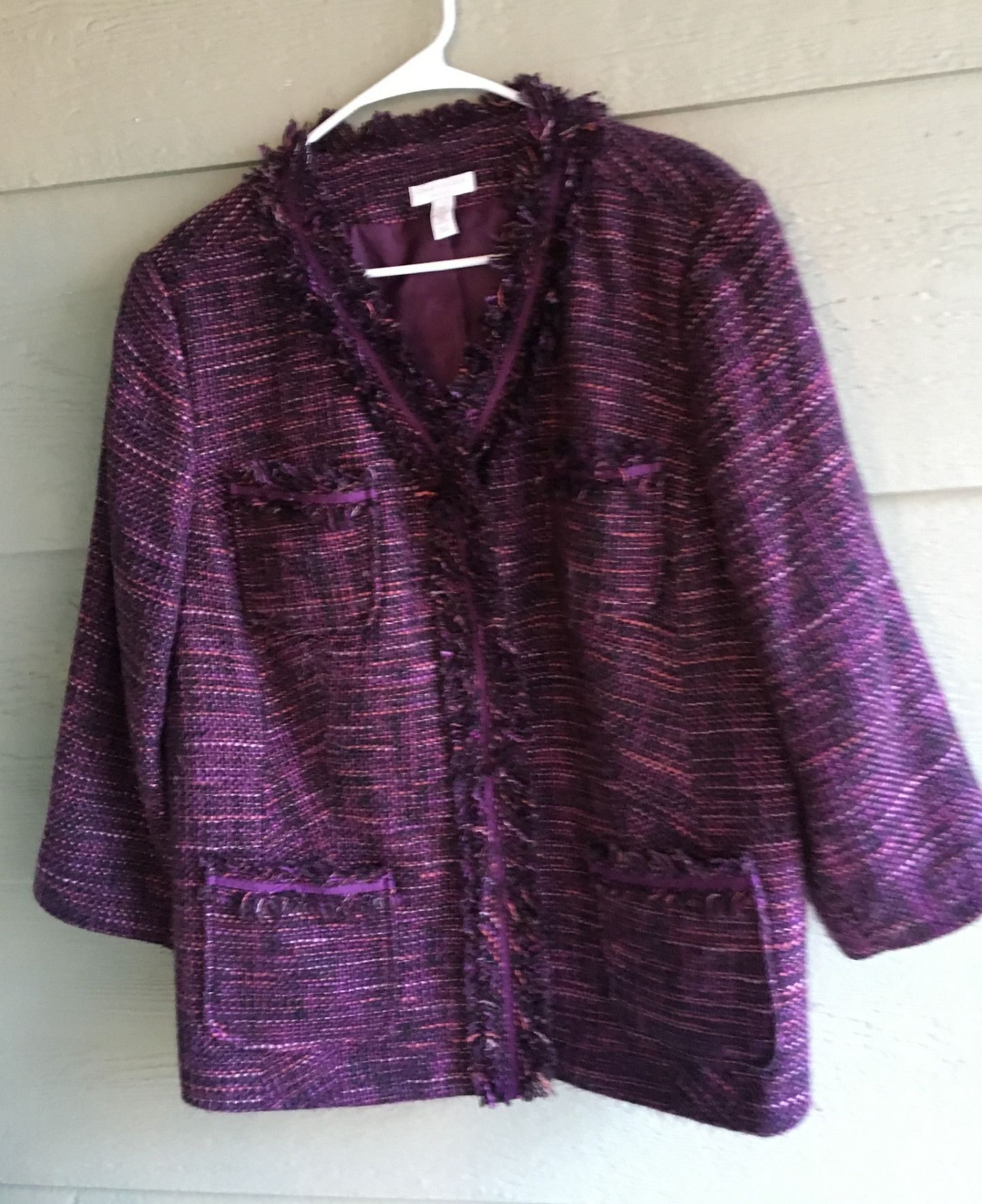 2X Purple Bloucle Jacket with Iconic Fringe CHARTER CLUB WOMAN