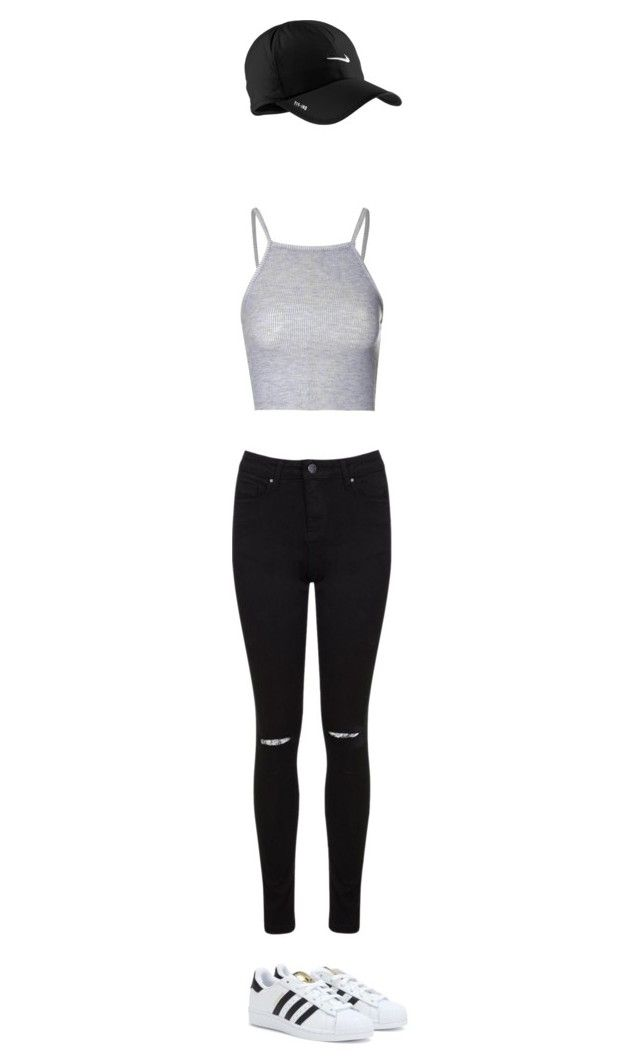 """""""B"""" by karenbee on Polyvore featuring Glamorous, Miss Selfridge, NIKE and adidas"""