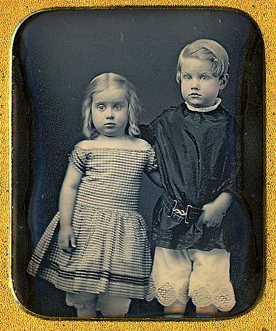 """""""Reade 4 years old the 10th of March 1855. Lizzie 3 years the 20th of May 1855. This daguerreotype take May 1855. John Reade Stuyvesant, Anna Elizabeth Stuyvesant""""."""