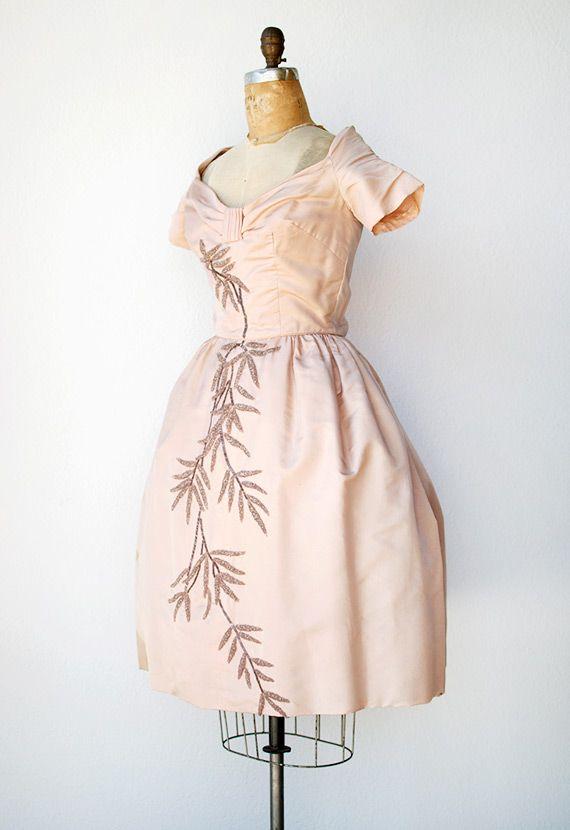 Vintage Cocktail Dresses | vintage 1950s pink duchess silk beaded cocktail dress //