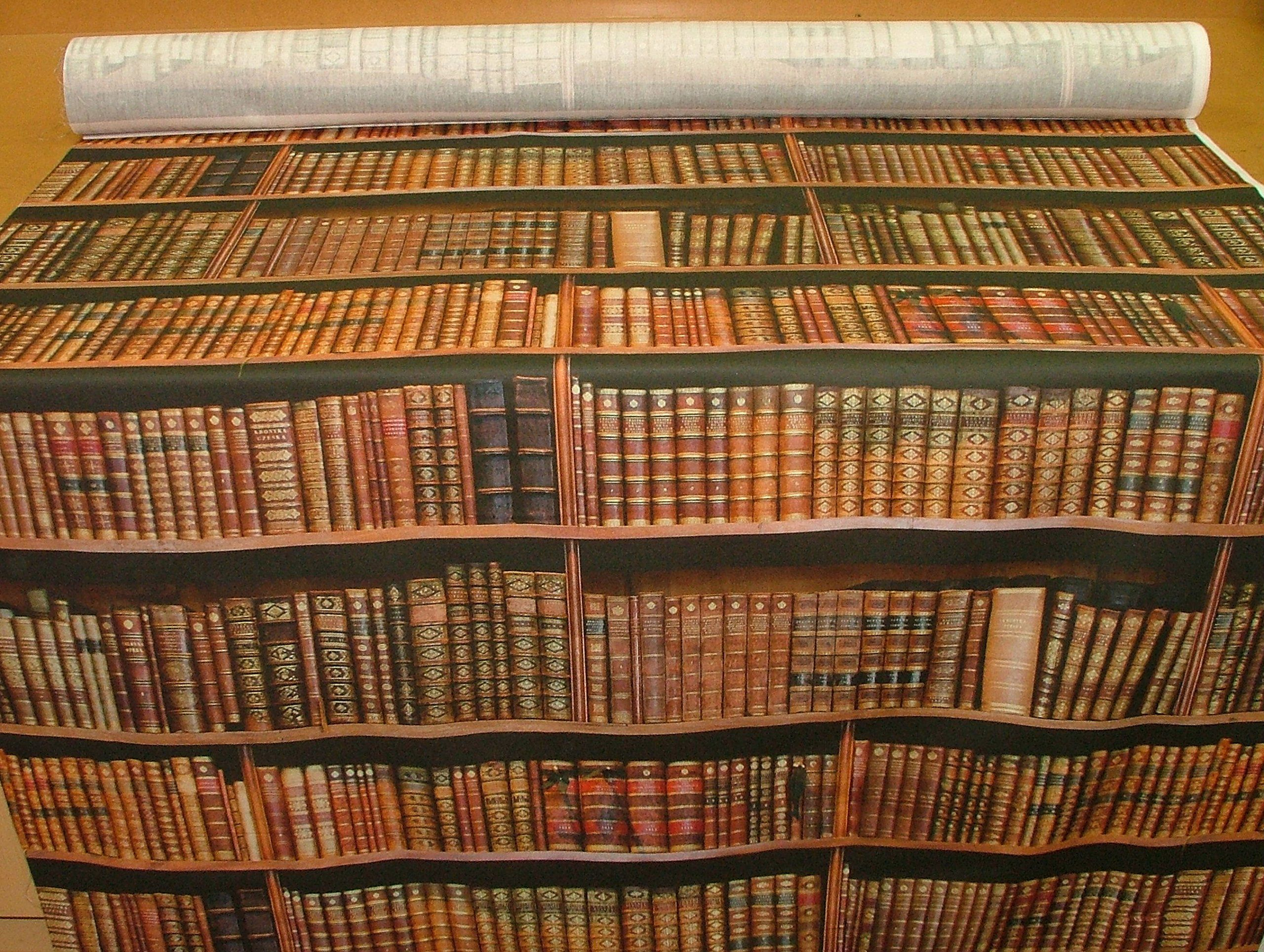 1 Metre Vintage Library Books Bookshelf Photo Digital Printed Full