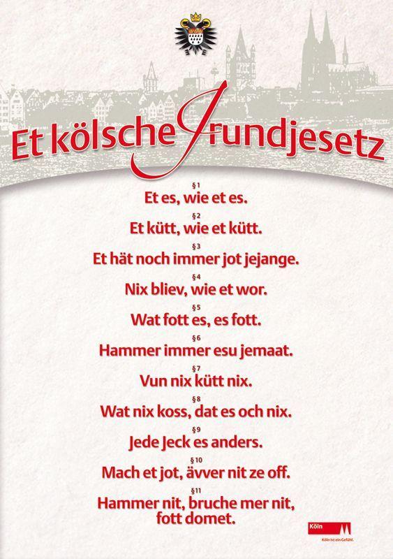 Poster Kolsches Grundgesetz Kolsch Spruch Weisheiten Lustige Spruche