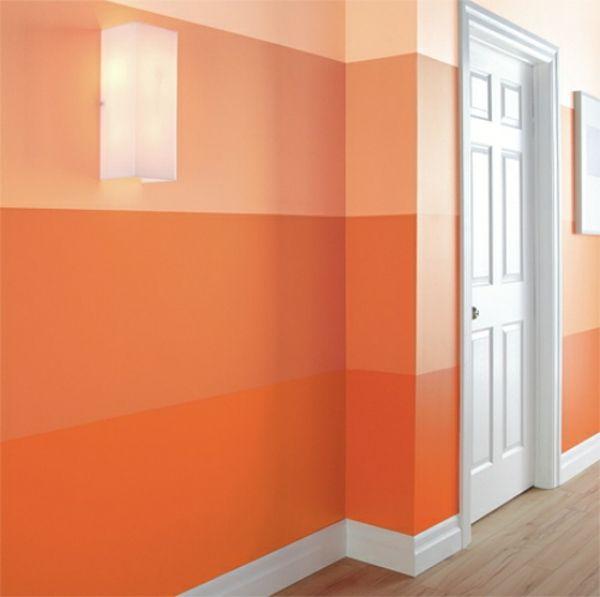 Streifen Muster Wand Streichen Ideen orange Farbe Farbdesign - muster an der wand malen