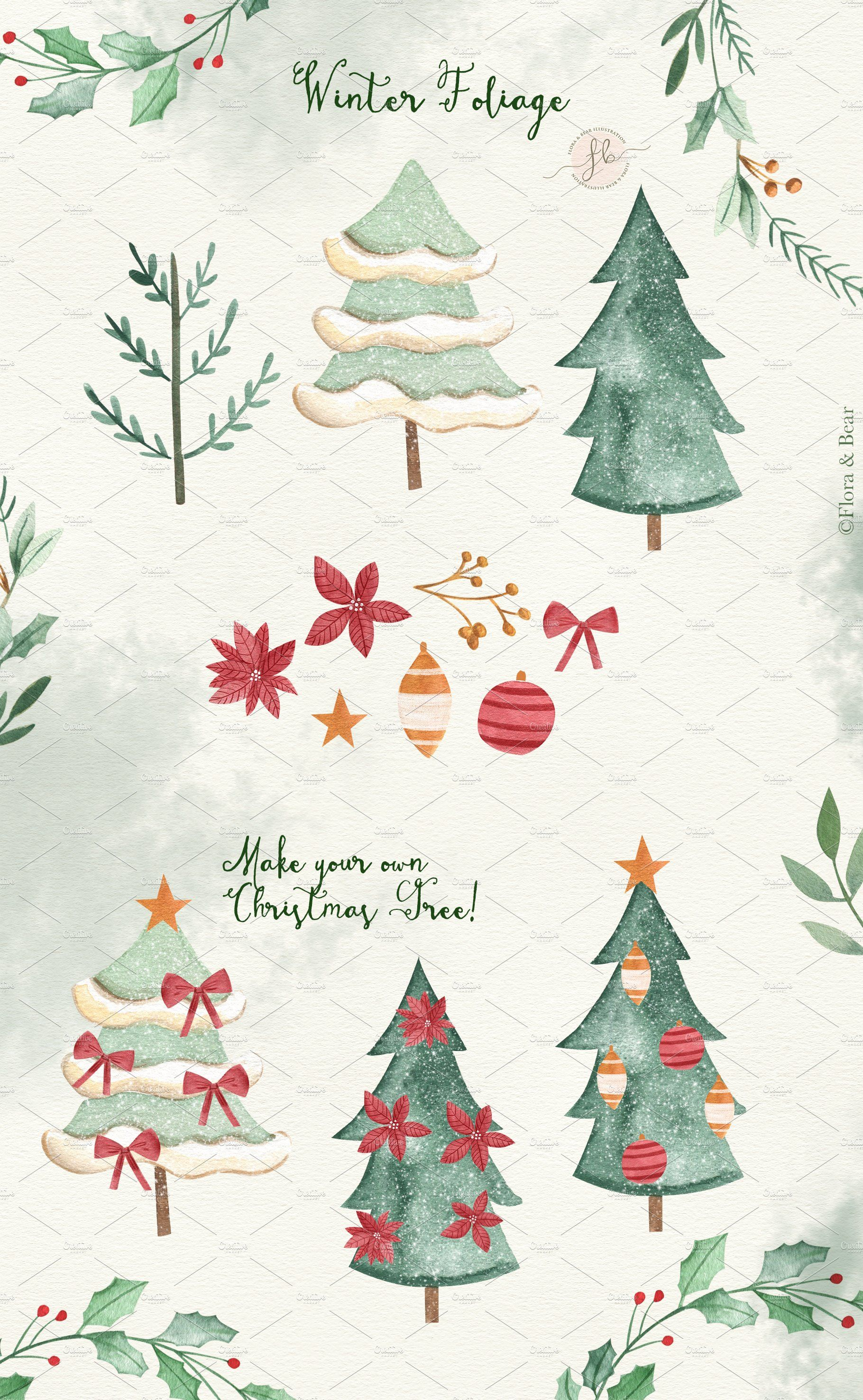 Classic Christmas Christmas Clipart Christmas Watercolor Christmas Illustration
