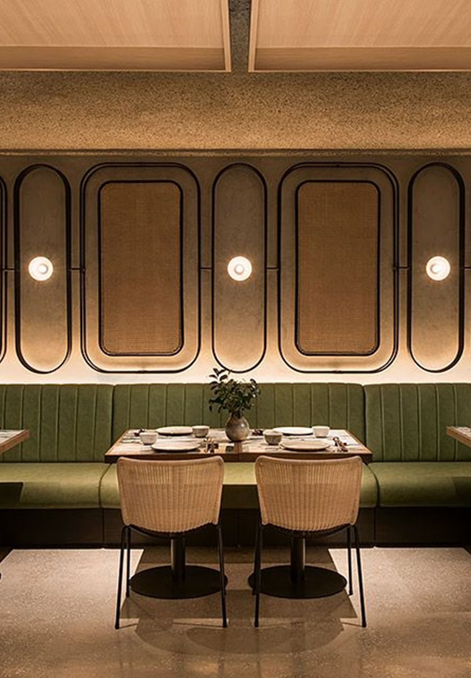 Banco Corrido Verde Restaurante Bancada Tapizada Pared Restaurante Restaurant Seating Rustic Dining Furniture Interior Design Rustic