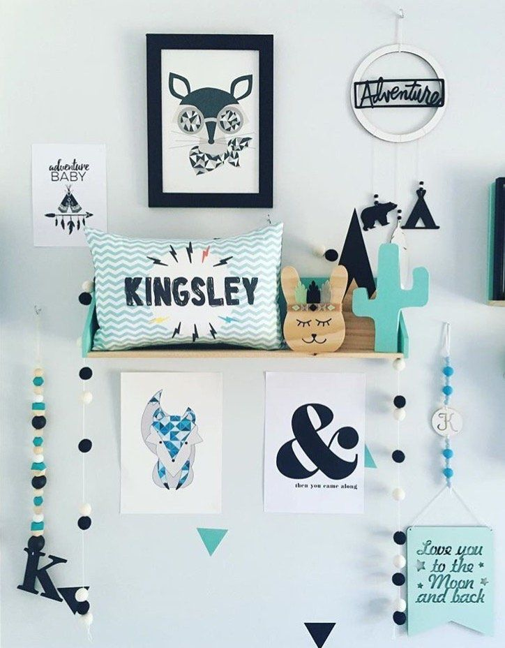 I love kids decor that has turquoise black white our