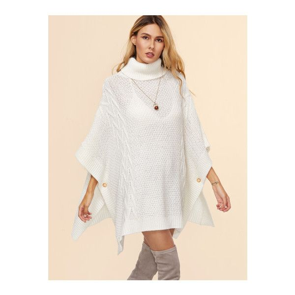 SheIn(sheinside) White Geo Pattern Turtleneck Buttoned Poncho Sweater (£23) ❤ liked on Polyvore featuring tops, sweaters, white, turtle neck sweater, oversized sweaters, 3/4 sleeve sweaters, button sweater and white poncho