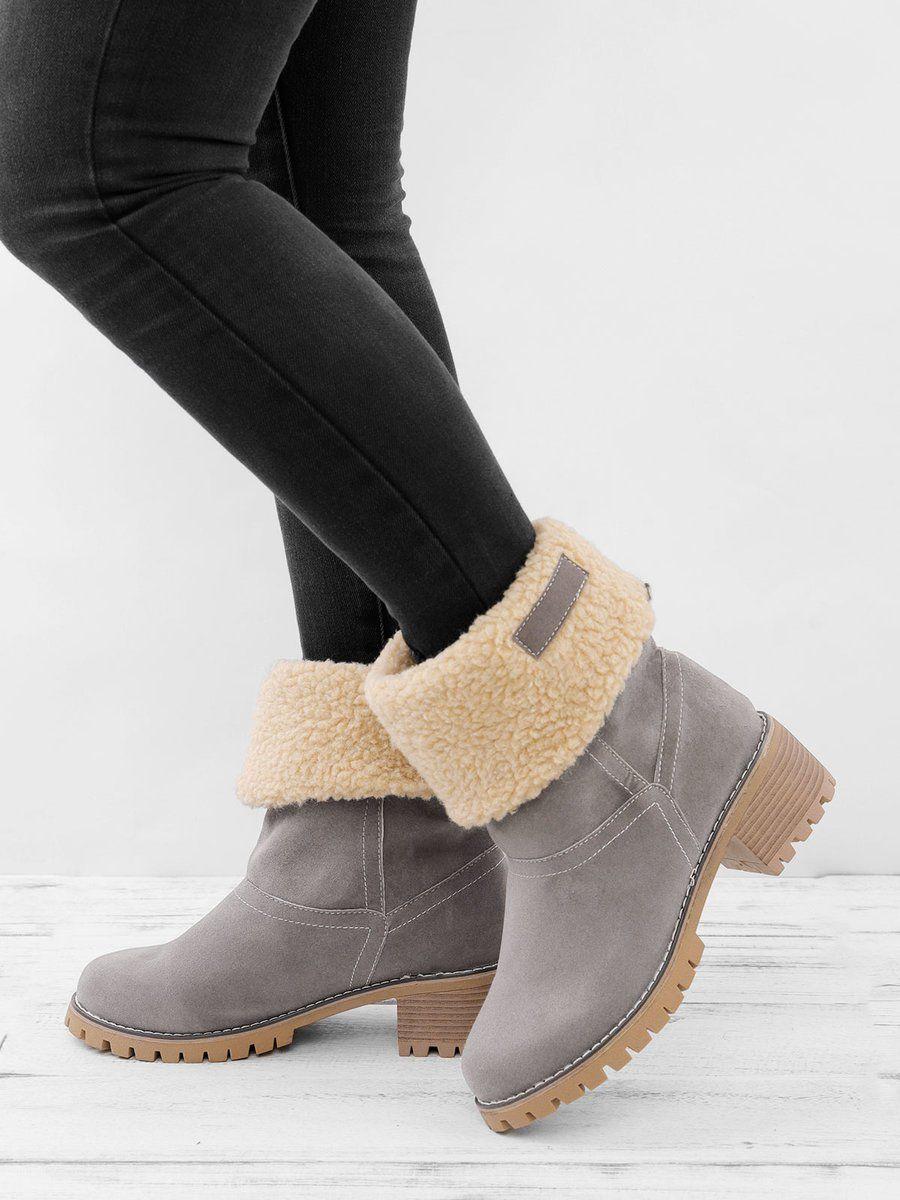 d003ac2175f Women Warm Square Heels Snow Boots - $35 JustFashionNow.com | Ooh ...