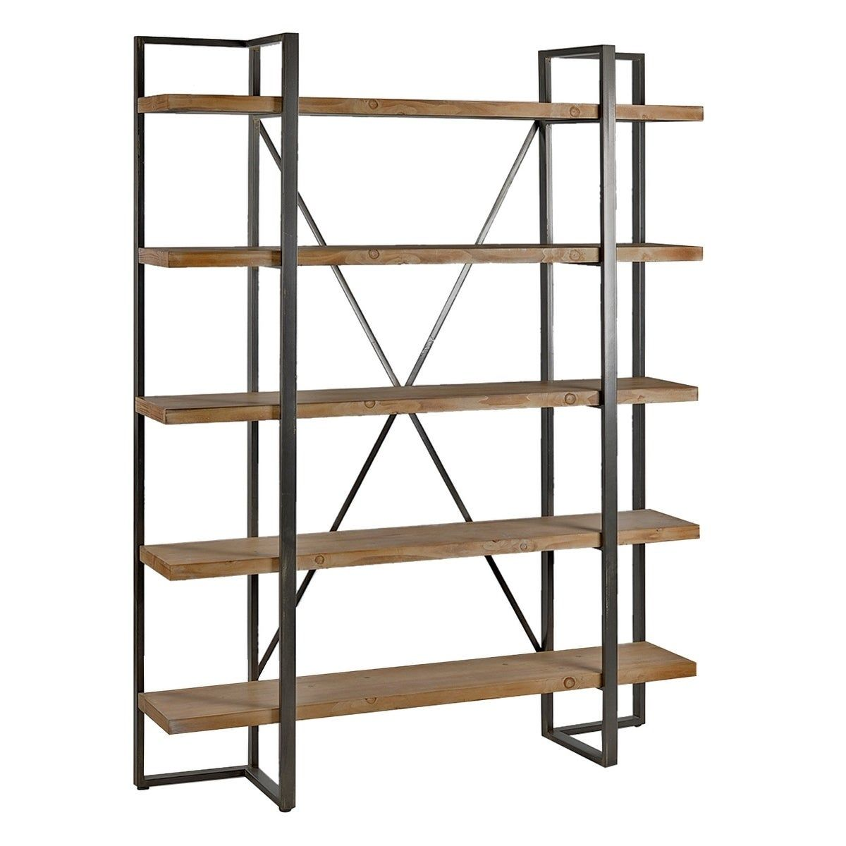 Rustic Metal And Wood Tall Etagere