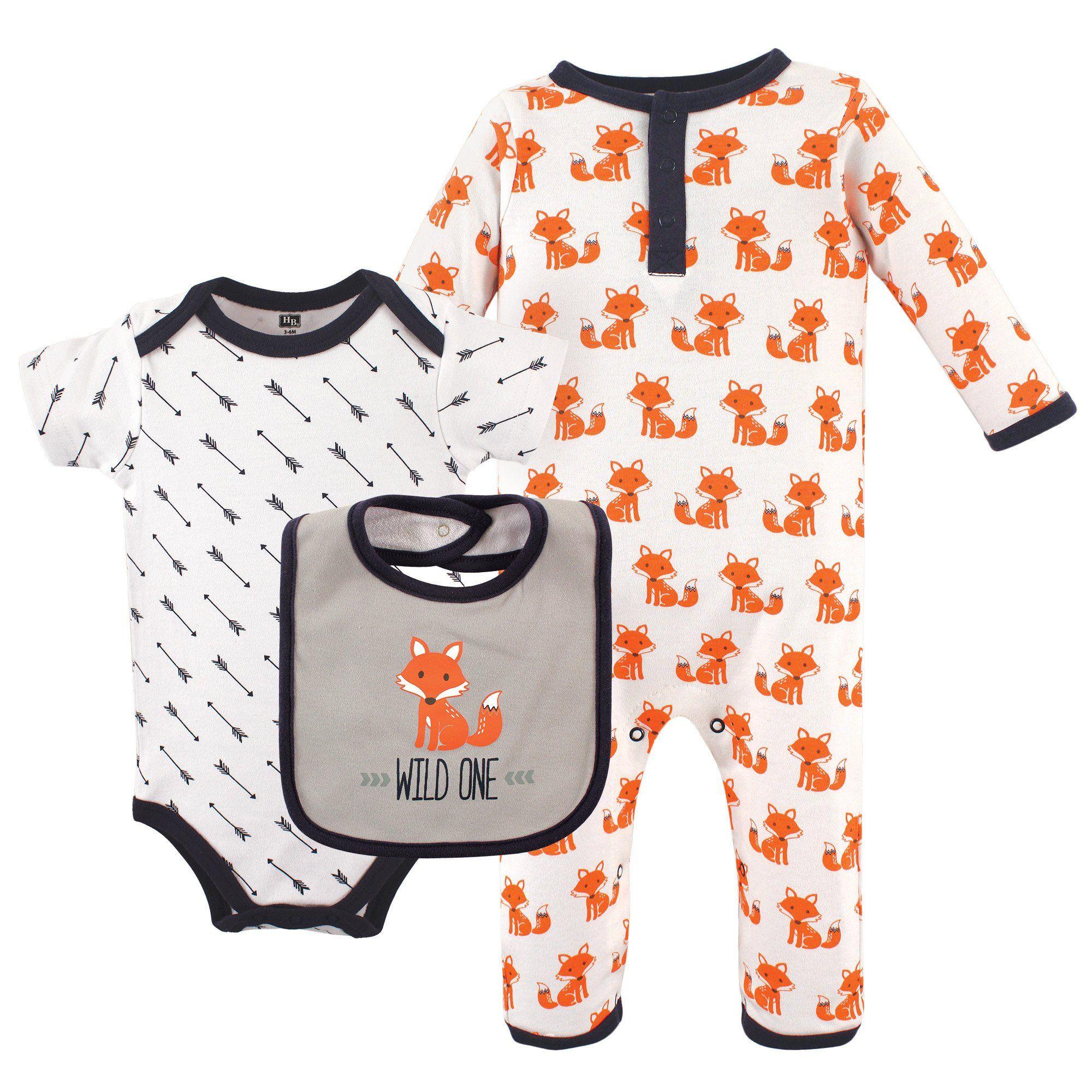 Hudson Baby Baby 3 Piece Cotton Union Suit Bodysuit and Bib Set