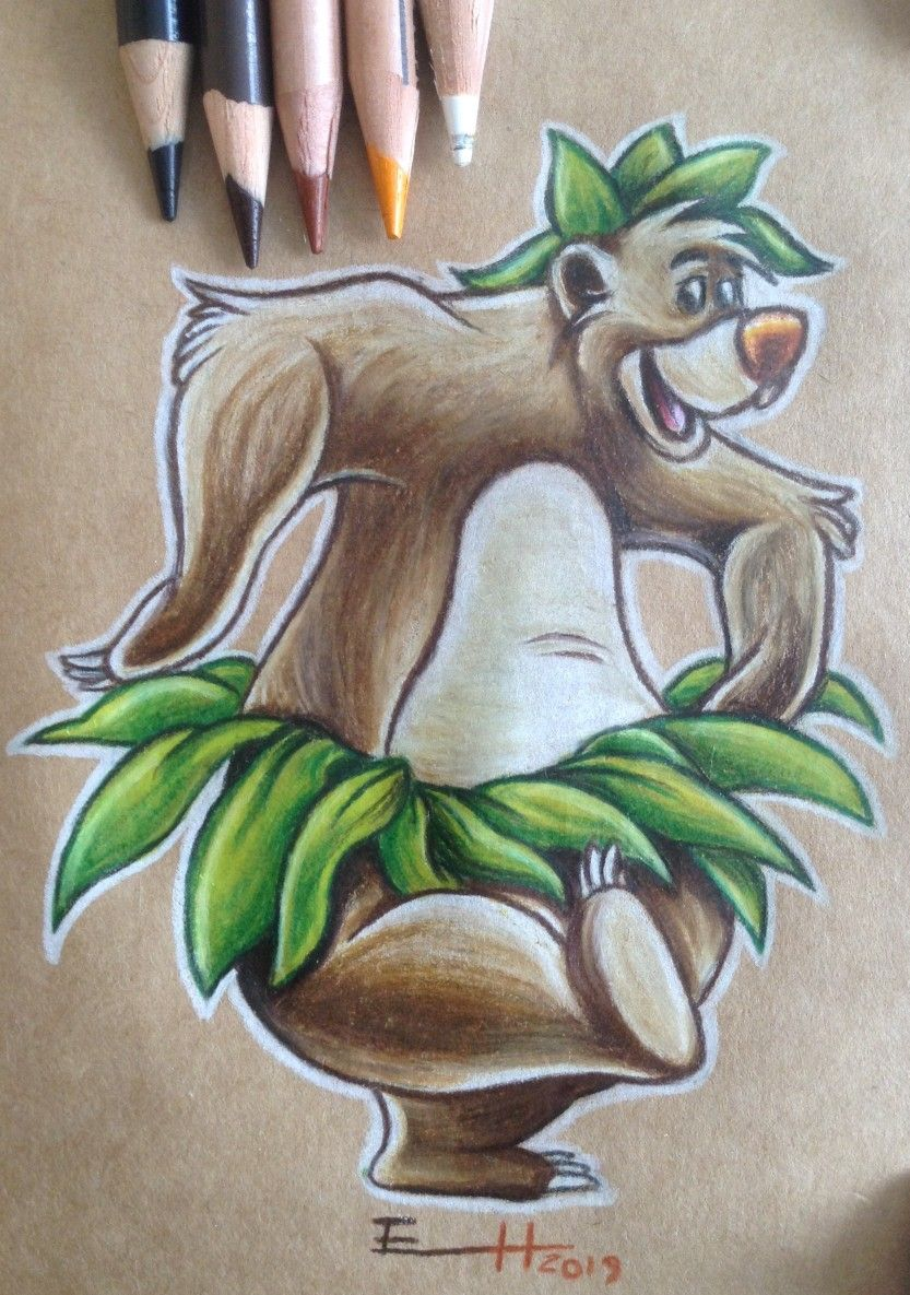 Baloo drawing. Fantasy. The jungle book. With colorpencils. Disney Animation. By @erika_horn.art
