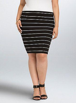 Striped Foldover Midi Skirt, BLACK WHITE STRIPE