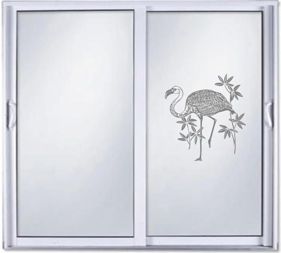 Flamingo Ocean DIY Etched Glass Vinyl Privacy Film Glass Door - Vinyl etched glass window decals