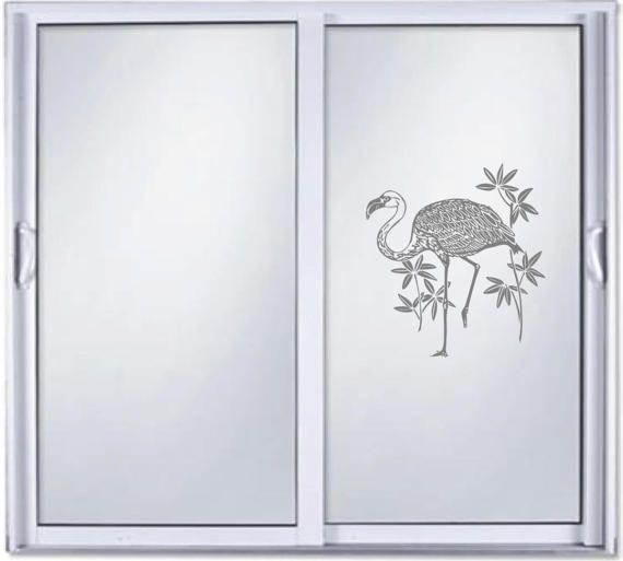 Flamingo Ocean Diy Etched Glass Vinyl Privacy Film Glass