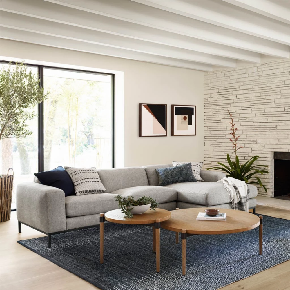 Benedict Sectional Sofa Round Rug Living Room Coffee Table Modern Sofa Sectional